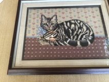 Framed Needlework Cat in St. Charles, Illinois