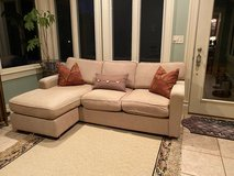Beige sofa with chaise in Naperville, Illinois