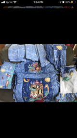 Crib Bedding set plus Curtain Panels and Diaper hanger in Naperville, Illinois