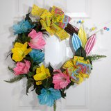 Tropical Grapevine Summer Wreath with Hibiscus and Surfboards in Camp Lejeune, North Carolina