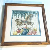 """Carousel Horse 12 x 12"""" Finished Cross Stitch Piece Framed Picture in Fort Campbell, Kentucky"""