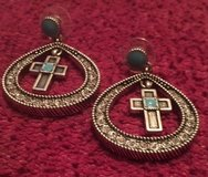 Montana Silver Earrings CZs and Turquoise Posts Dangle Crosses Beautiful New in Kingwood, Texas