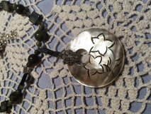Necklace with Pendant Mother of Pearl Grey Carved Pendant Coordinating Beads Custom in Kingwood, Texas