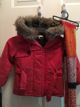 Red winter coat & scarf in Naperville, Illinois