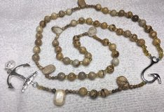 Catholic Rosary Maori Hook Picture Jasper Natural Stone Beads Mariner Cross Necklace in Kingwood, Texas