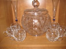 Nachtmann Crystal Punchbowl Set w/6 Glasses in Ramstein, Germany