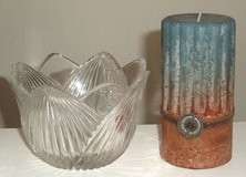 Clear Glass Tulip Bowl w Ribbed Panels Includes Brand New Blue Brown Scented Pillar Candle. in Morris, Illinois