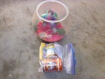goldfish bowl and food in Fort Knox, Kentucky