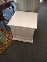 White Cube End Table with Storage in Bartlett, Illinois
