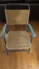 2 FOLDING FAUX WICKER  AND METAL ARM CHAIRS in Yorkville, Illinois