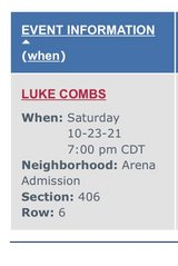 2- Tickets to Luke Combs Toyota Center in Houston, Texas