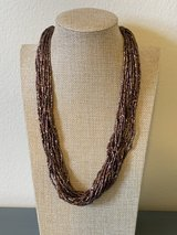 Bronze multi strand twisted seed bead necklace in Okinawa, Japan