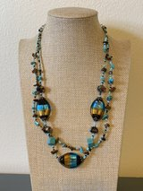 Double Strand Art Glass Seed Bead Turquoise Crystal Necklace in Okinawa, Japan