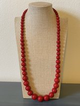 Long Red Ascending Beaded Necklace in Okinawa, Japan