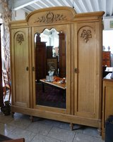 beautiful tiger oak armoire with bevelled mirror in Spangdahlem, Germany