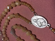 Catholic Rosary Blind St Lucy Medal Maple Colored Faceted Glass Beads Italian Silver Medal Cruci... in Houston, Texas