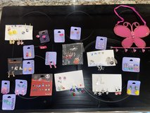 65 pairs of young girls pierced earrings & butterfly jewelry hanging holder in Joliet, Illinois
