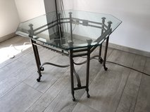 Antique Handmade Wrought Iron End Table w/ Glass-top in Ramstein, Germany