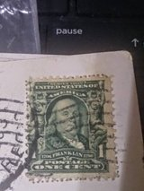 ben franklin 1902 1c stamp off angle in Nellis AFB, Nevada
