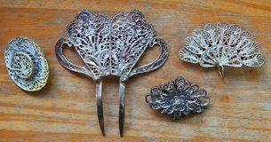 Spanish metal brooches and hair comb in Okinawa, Japan