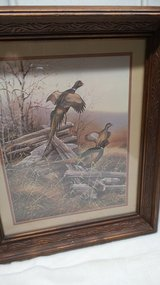 DARK WOOD EMBOSSED LEAVES FRAME OF PHEASANTS IN WOODLAND WELL MADE in Naperville, Illinois