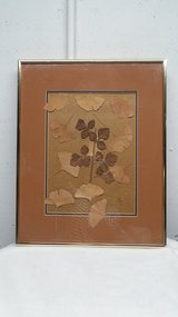 WELL MADE GOLD FRAME ORANGE MATT WITH DRIED GINGKO & SUMAC LEAVES in Naperville, Illinois