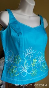 EMBROIDERED TURQUOISE TOPS WITH MATCHING FLORAL SKIRT SIZE 4 BY ISLAND REPUBLIC in Naperville, Illinois
