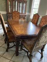 Old World style Dining table with 10 chairs and China Cabinet in Conroe, Texas