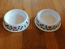 Patterned dog bowls in Ramstein, Germany