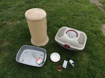 Cat Scratching post ,cat carrier,bowl,collar,toy in Lakenheath, UK