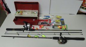 2 Rods & Reels + Small box of Tackle, REDUCED. in Clarksville, Tennessee