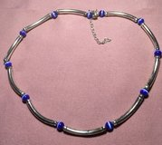 Necklace Silver Tube Beads Blue Cats Eye Spacers Choker Vintage Lightweight in Kingwood, Texas