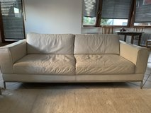Designer Couch Leather, white with stool/table in Stuttgart, GE