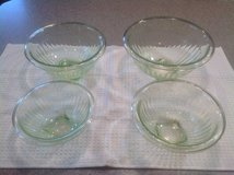 Set of 4 green depression glass bowls in St. Charles, Illinois