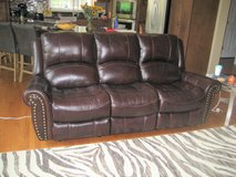 GENUINE LEATHER SOFA RECLINER - LIKE NEW - DARK BROWN - DARVIN in Joliet, Illinois