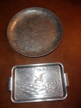 50s Hand Wrought Aluminum Serving Tray Lot in Byron, Georgia