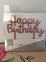 NEW 'Happy Birthday' Rose Gold Glitter Cake Sign in Lakenheath, UK