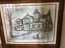 Farmhouse Signed Large Framed Art Print - Winter House & Snowman Picture - Country in Naperville, Illinois