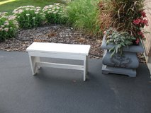 Sturdy White Wood Bench in Joliet, Illinois