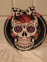 Halloween wreath, large sugar skull, bat bow.New made by me. in Fort Hood, Texas