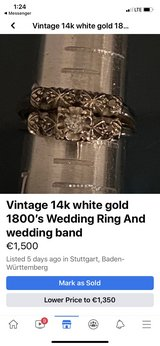 Vintage 14k white gold 1800's Wedding Ring And wedding band in Stuttgart, GE