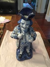 late 1800-early 1900's earthenware blue n white Toby pitcher in Beaufort, South Carolina
