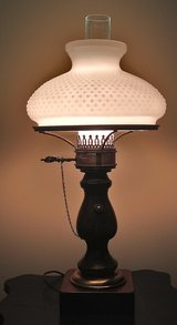 Vintage milk glass hurricane style desk or table lamp 3-way switch in Plainfield, Illinois