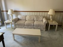 Floral Couch and Loveseat with Tables and Lamps in Bartlett, Illinois
