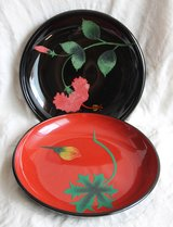 Japanese hand-carved decorative plates (2) in Okinawa, Japan