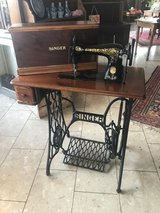 antique Singer sewing machine with walnut case fully functional in Spangdahlem, Germany