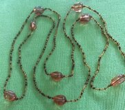Necklace Vintage LONG Large Beads Small Beads Shades of Amber Tan Clear Acrylic Ready to Wear in Kingwood, Texas