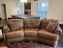 Conversational Leather Couch with Ottomon in The Woodlands, Texas
