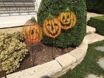 3 Halloween / Pumpkin Yard Stick Decorations for your Garden in Bolingbrook, Illinois