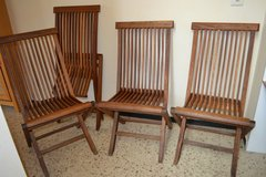 4 x Vintage TEAK Garden folding chairs Gardenchairs Stable and beautiful in Wiesbaden, GE